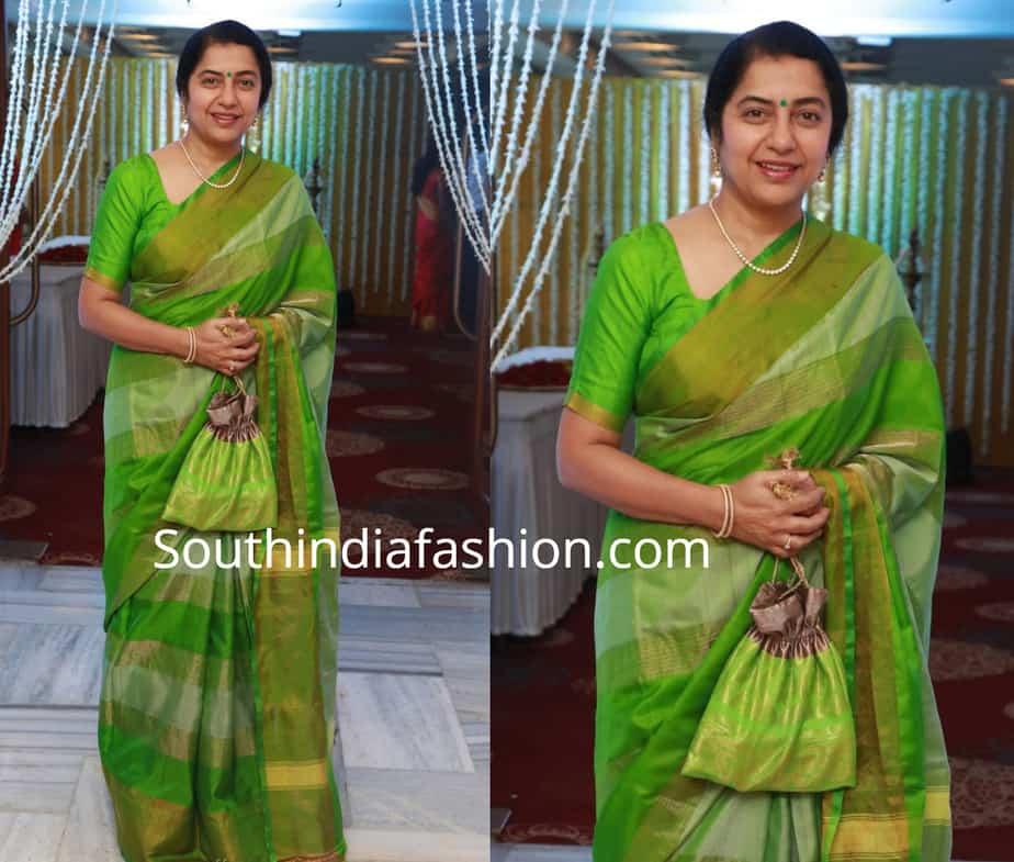 suhasini maniratnam in green silk saree at suja varunee wedding reception