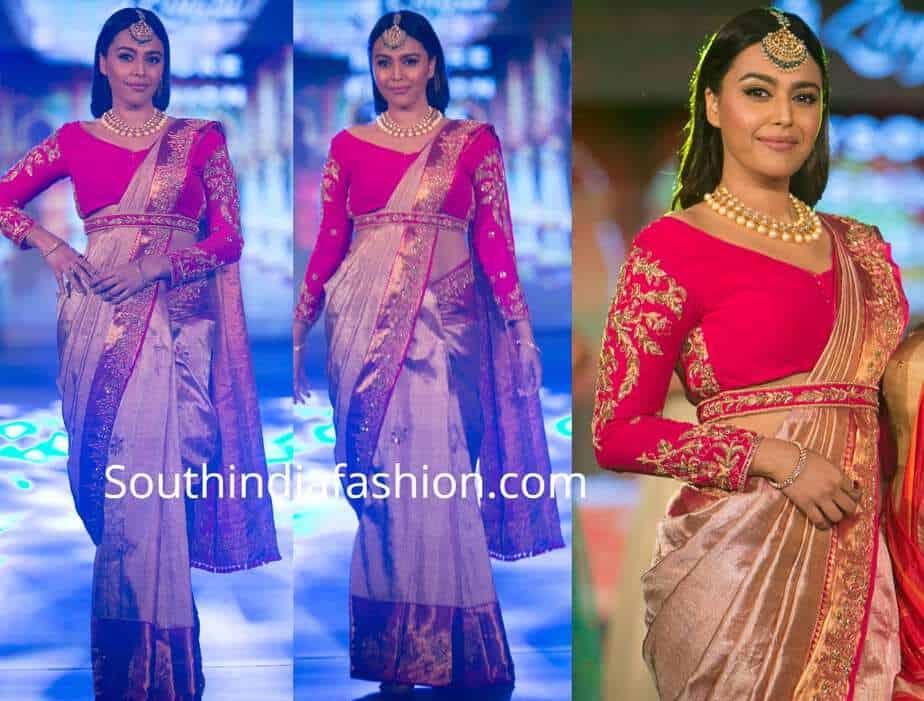 swara bhasker silk saree mysore fashion week