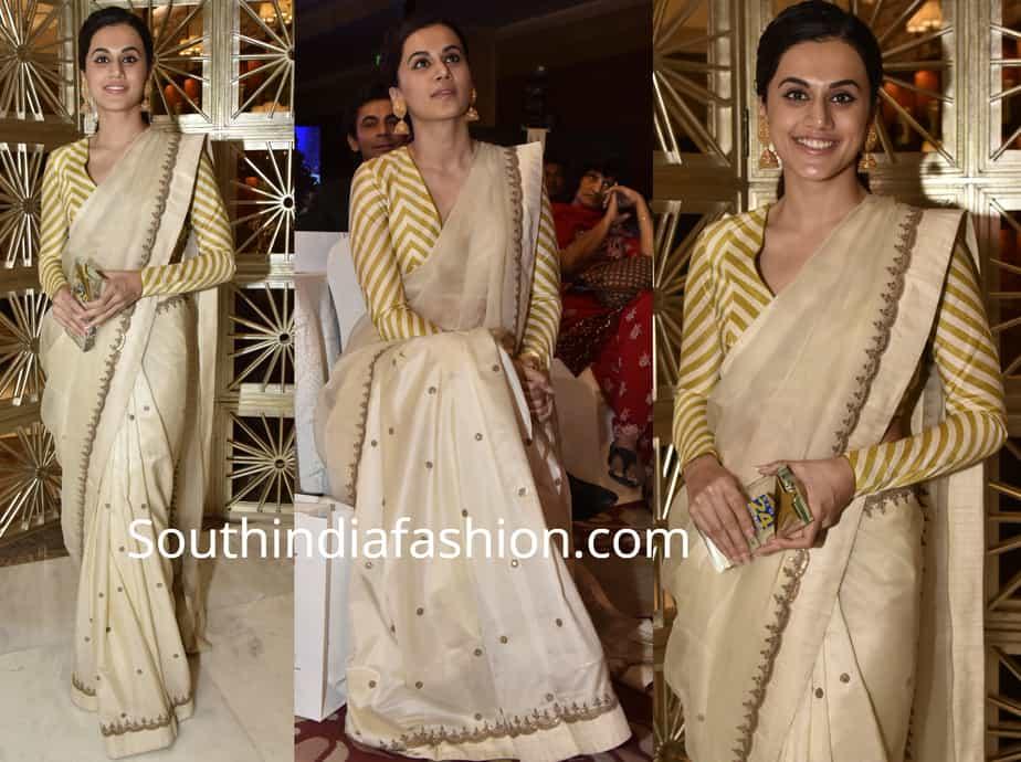 taapsee pannu cream saree striped blouse