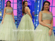 tejaswi madivada green long skirt crop top