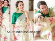 tejaswi madivada white floral saree diwali 2018