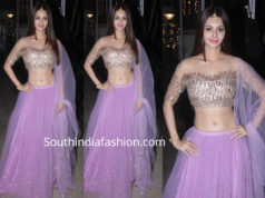 vedhika lavender lehenga at shabnam kapoor diwali party