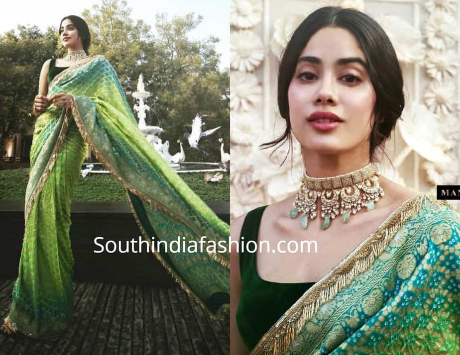 janhvi kapoor in green saree at isha ambani wedding