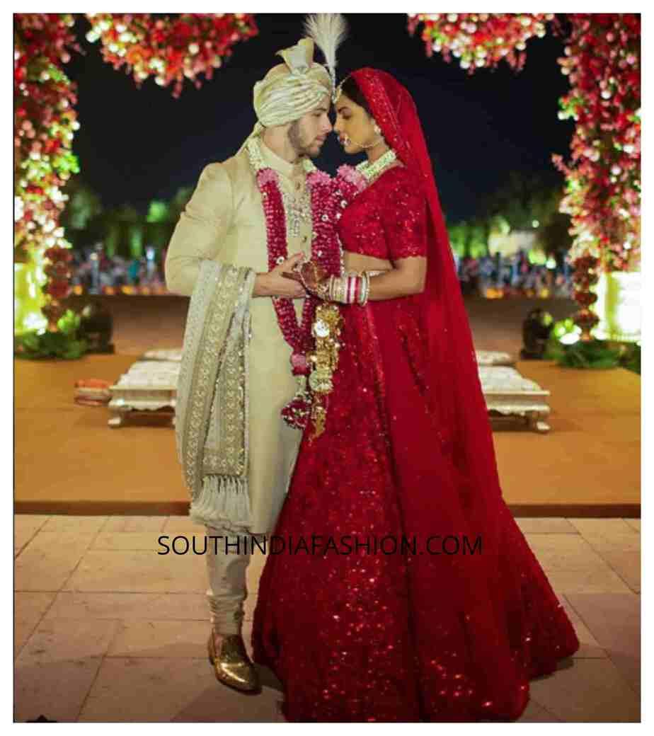Red wedding dress Priyanka