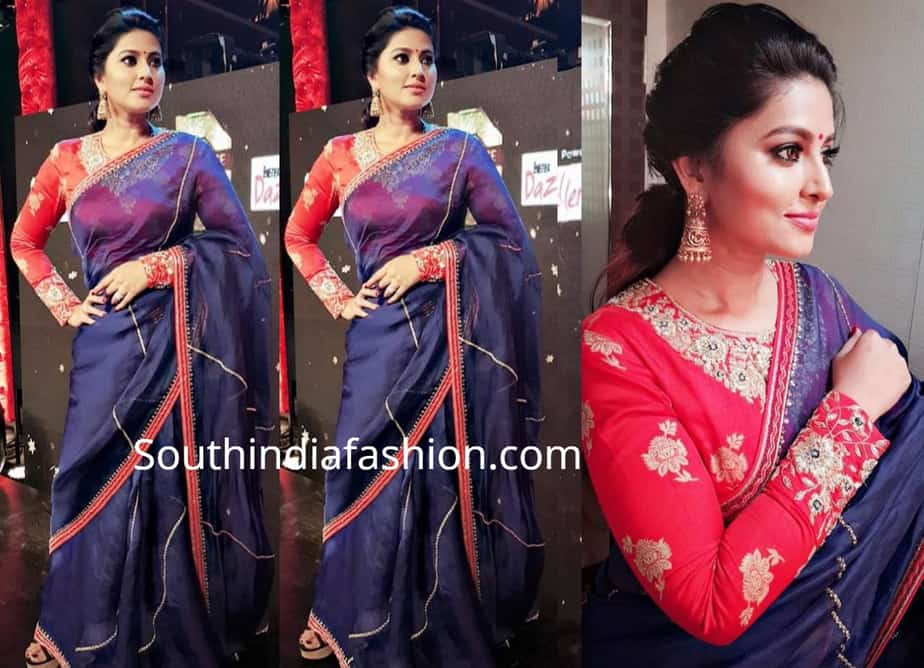 actress sneha in navy blue saree and red fiull sleeves blouse by issa