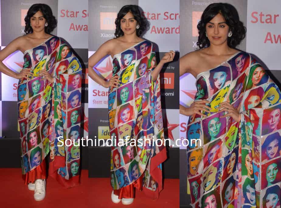 adah sharma saree at star screen awards 2018