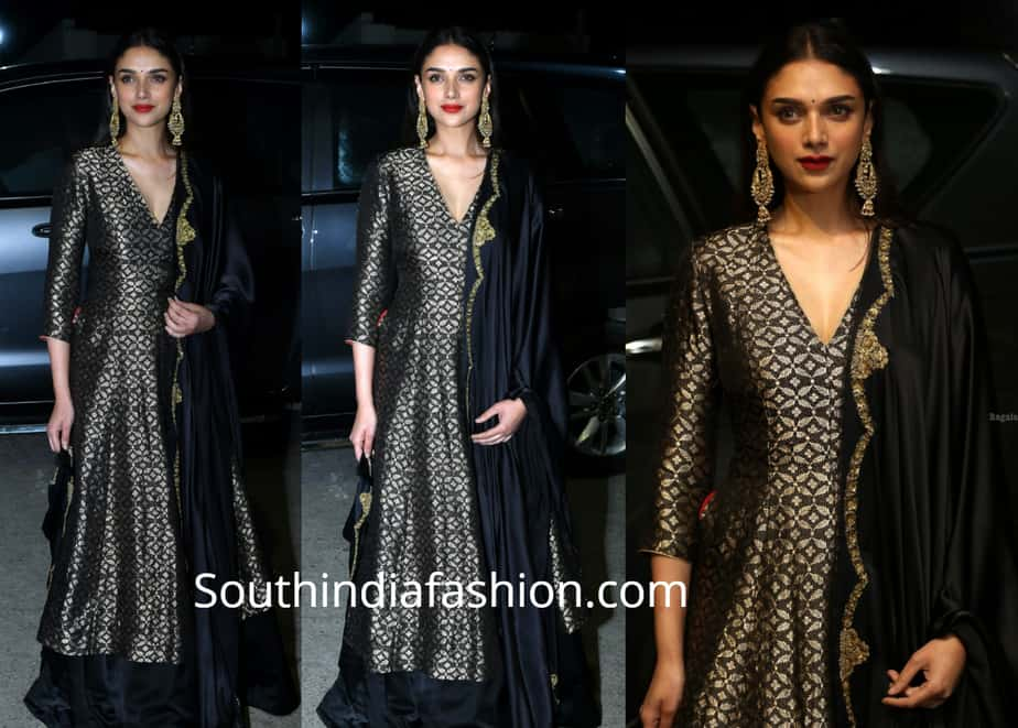 aditi rao hydari in black salwar suit at anthariksham pre release event