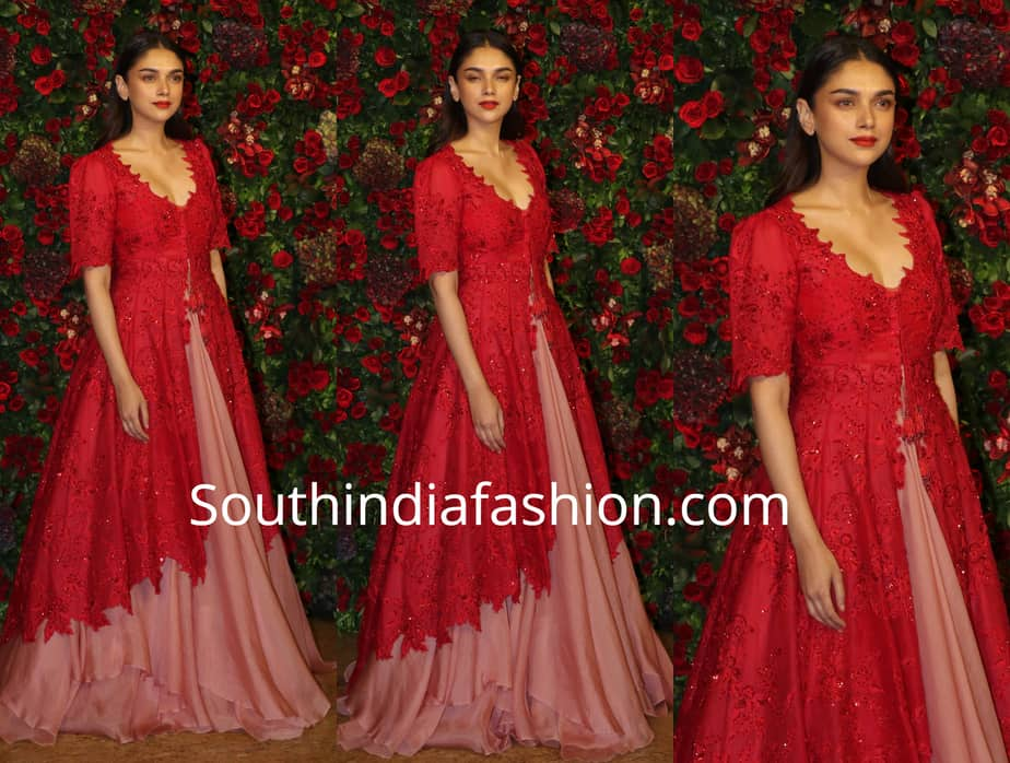 aditi rao hydari red jacket pink lehenga at deepika ranveer wedding reception