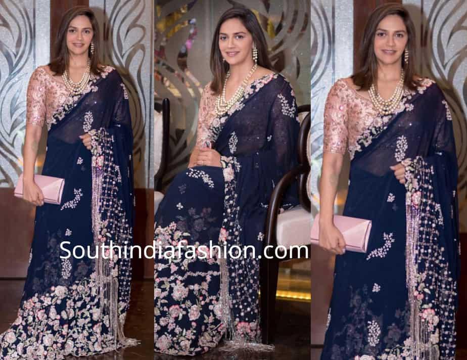 ahana deol in blue saree at isha ambani wedding reception
