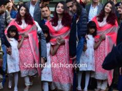 aishwarya rai bachchan pink salwar suit at isha ambani pre wedding