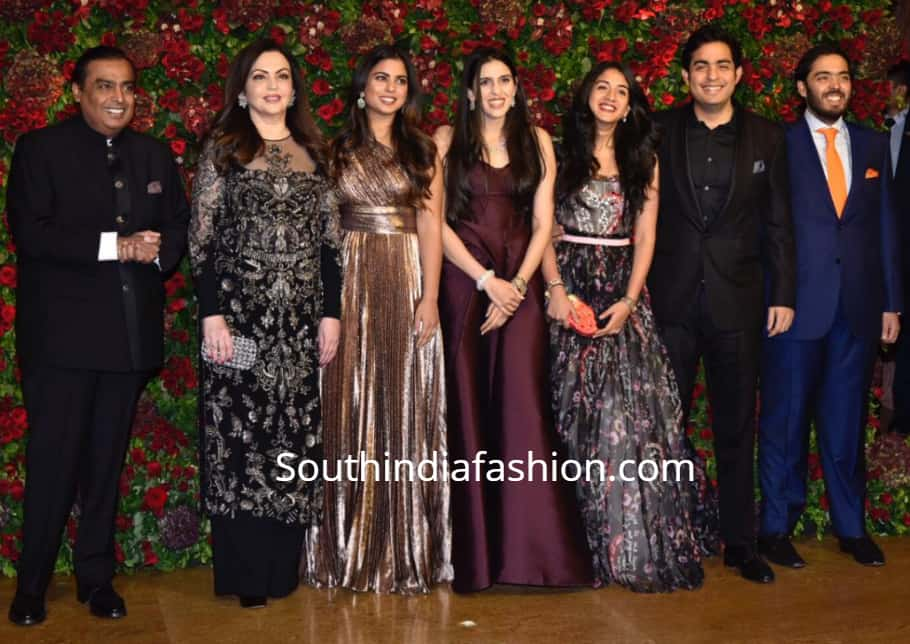 ambani family at deepika ranveer reception