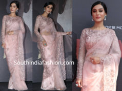 amrita rao in pink saree at Thackeray trailer launch