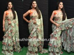 anchor syamala ruffle saree kavacham audio launch