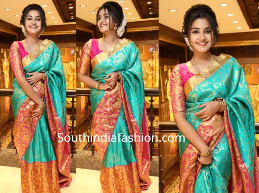 anupama parameswaran silk saree vrk silks launch