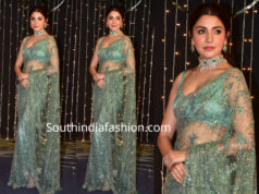 anushka sharma in green sabyasachi saree at priyanka chopra wedding reception