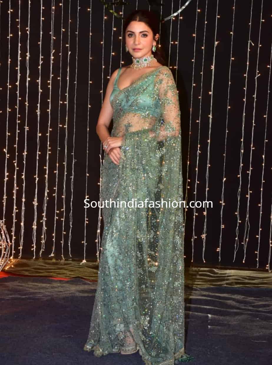 anushka sharma in green sabyasachi saree at priyanka chopra wedding reception