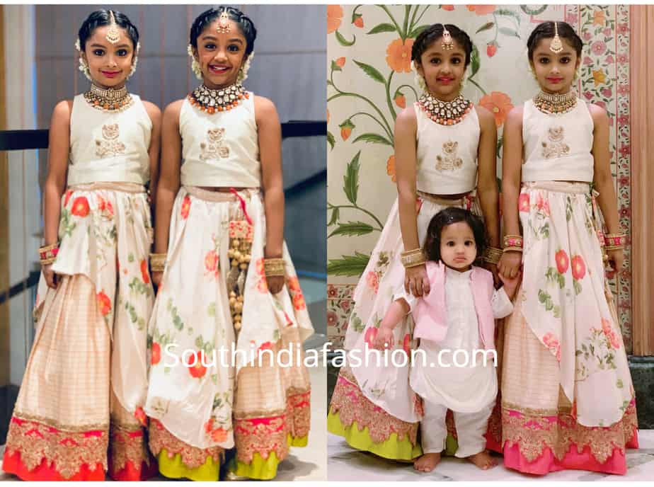 8f826c2f3f Vishnu Manchu's daughters Ariana and Viviana attended an engagement  function recently wearing coordinating festive lehengas by Sunaina Sood.