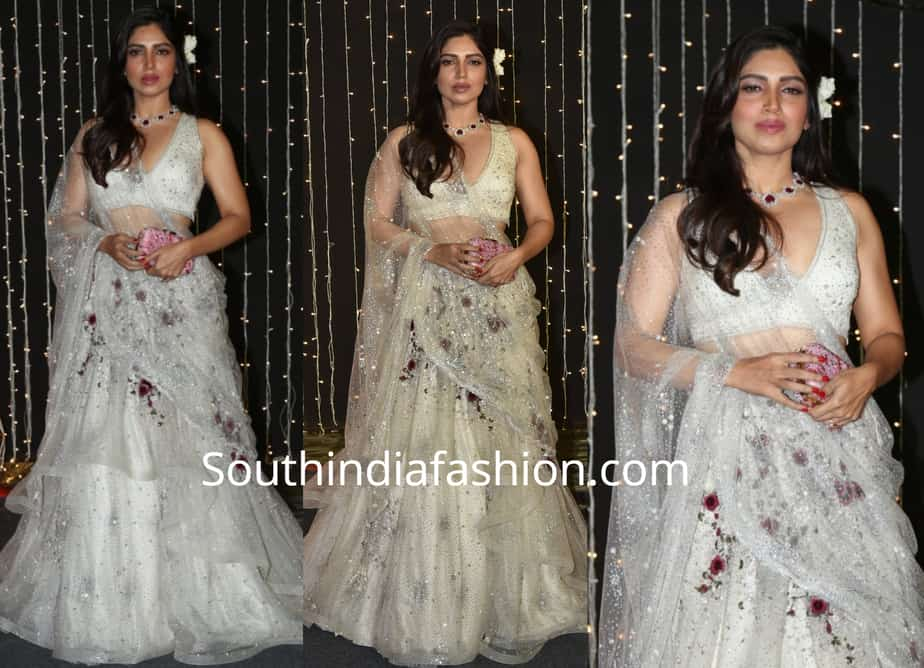 bhumi pednekar in white lehenga at priyanka chopra wedding reception