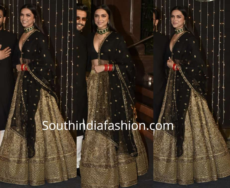 deepika padukone in black and gold lehenga at priyanka chopra wedding reception