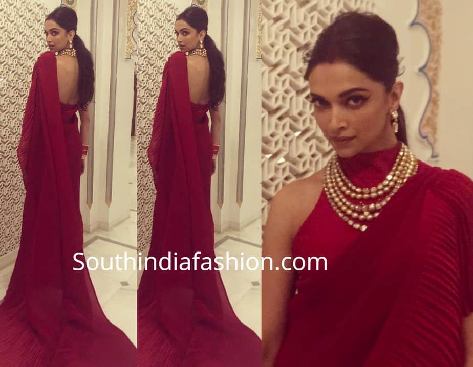 deepika padukone red saree at isha ambani pre wedding