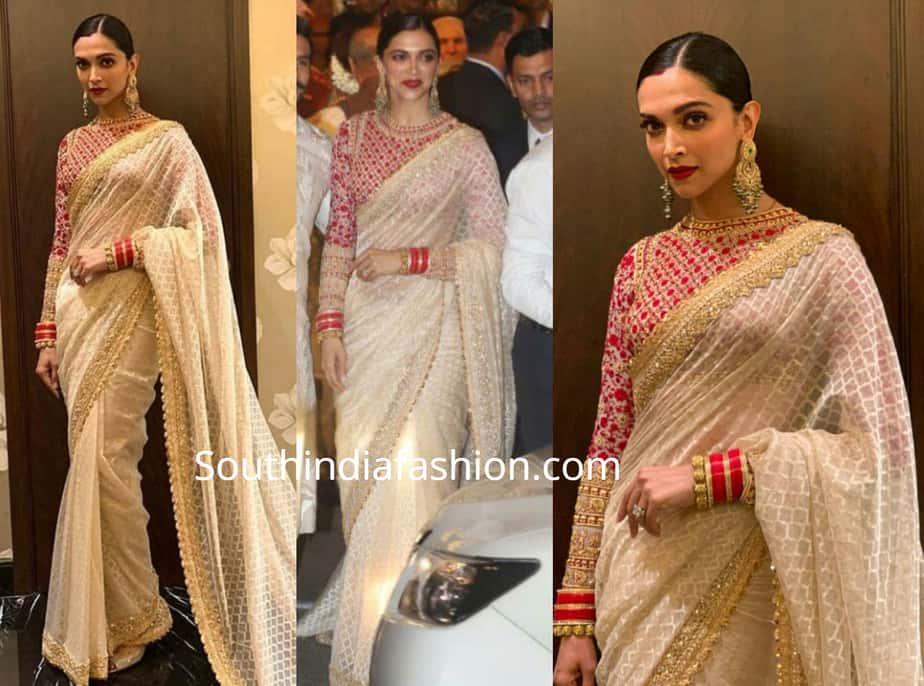 deepika padukone white saree and red blouse at isha ambani wedding