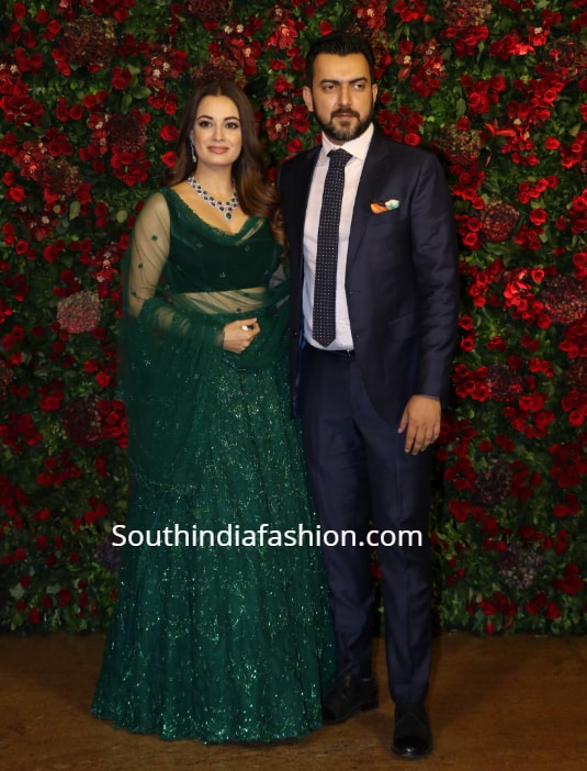 dia mirza green lehenga at deepika ranveer reception