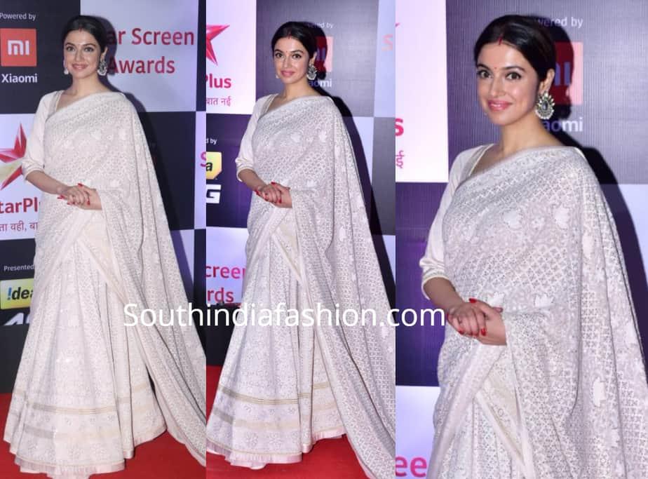 divya khosla kumar in white half saree