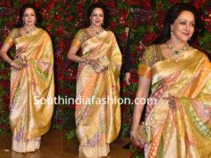 hema malini banarasi silk saree in deepika wedding reception