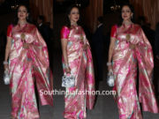 hema malini pink banarasi silk saree at isha ambani wedding