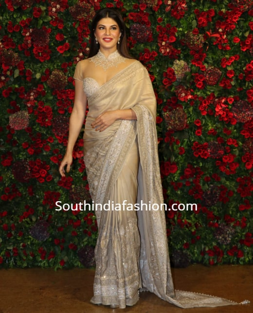 jacqueline fernandez in tarun tahilaini saree at deepika ranveer reception