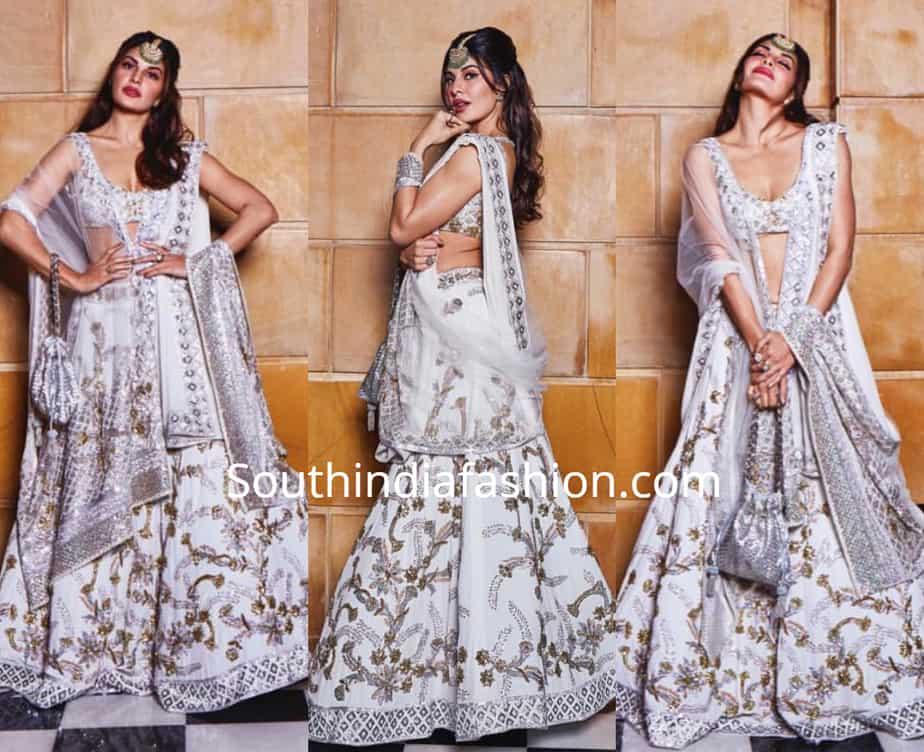 jacqueline fernandez in white lehenga by manish malhotra at isha ambani wedding