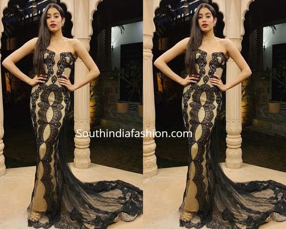 janhvi kapoor in black gown at isha ambani pre wedding
