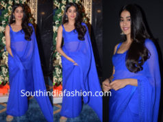 janhvi kapoor in blue saree