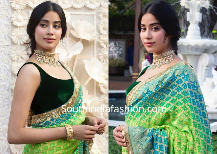 janhvi kapoor in green saree isha ambani wedding