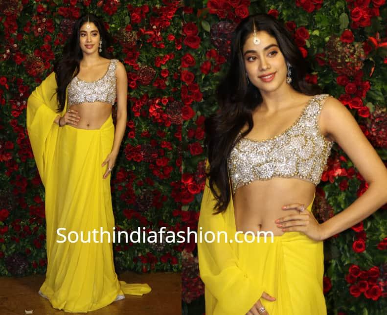 janhvi kapoor yellow saree at deepika ranveer wedding reception