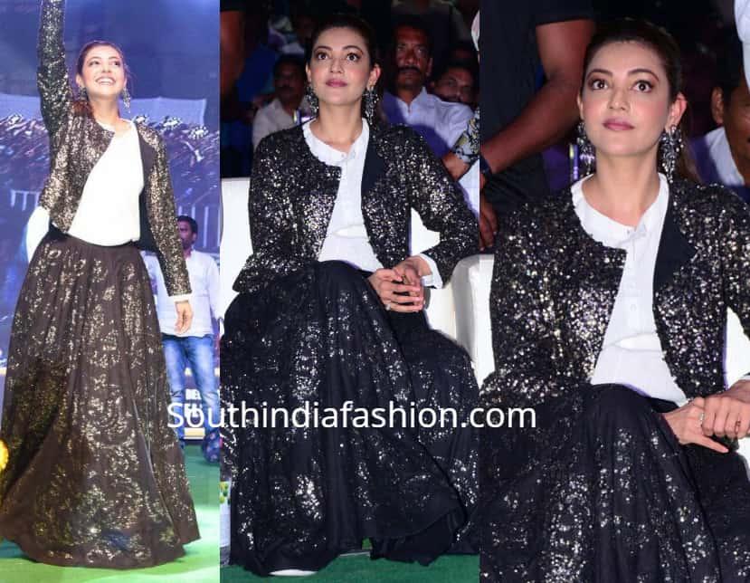 kajal aggarwal black skirt kavacham audio launch