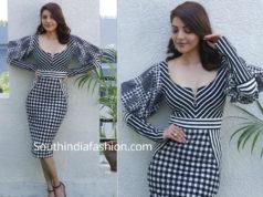 kajal aggarwal black and white dress kavacham promotions