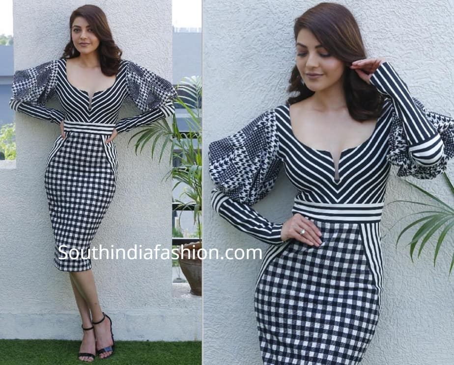 kajal aggarwal black and white dress kavacham promotions