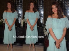 kajal aggarwal in blue dress at nishka lulla baby shower