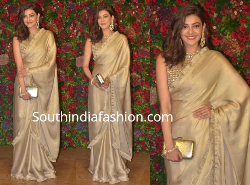 kajal aggarwal gold saree in deepika ranveer wedding reception