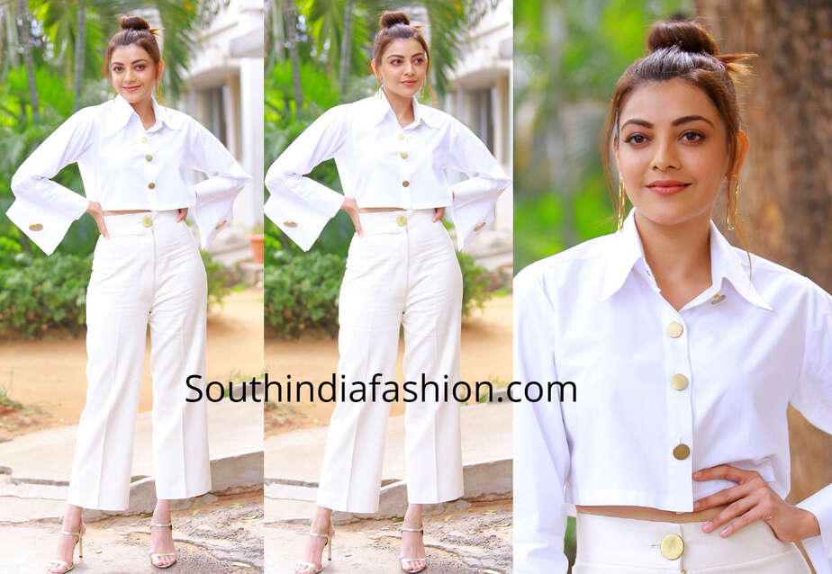 kajal aggarwal white dress kavacham promotions