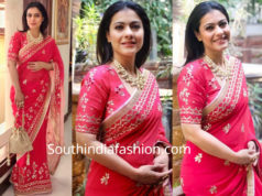 kajol in red saree at a wedding