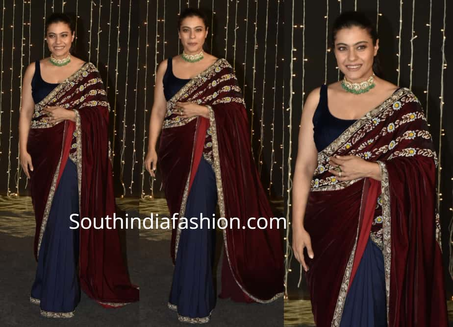 kajol in velvet saree at priyanka and nick wedding reception