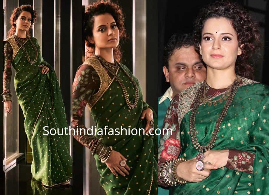 kangana ranaut green sabyasachi saree at dum dum film festival