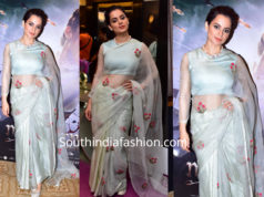 kangana ranaut in blue saree at manikarnika trailer launch