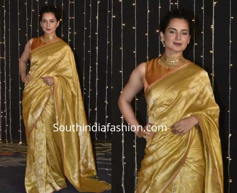 kangana ranaut in yellow silk saree at priyanka chopra nick jonas wedding reception