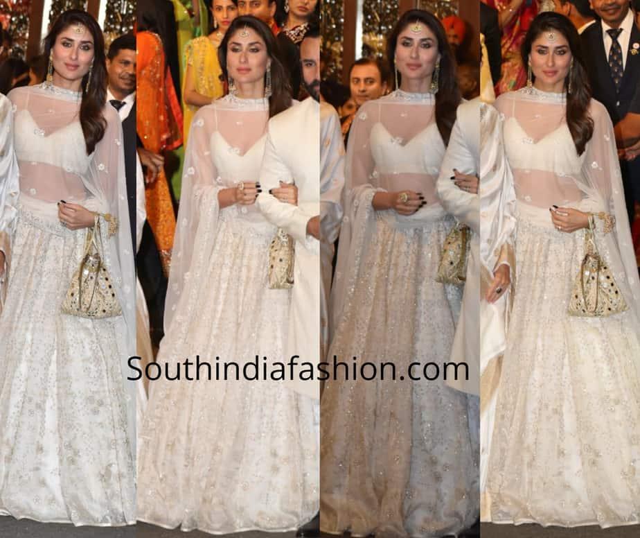 kareena kapoor in white lehenga at isha ambani wedding