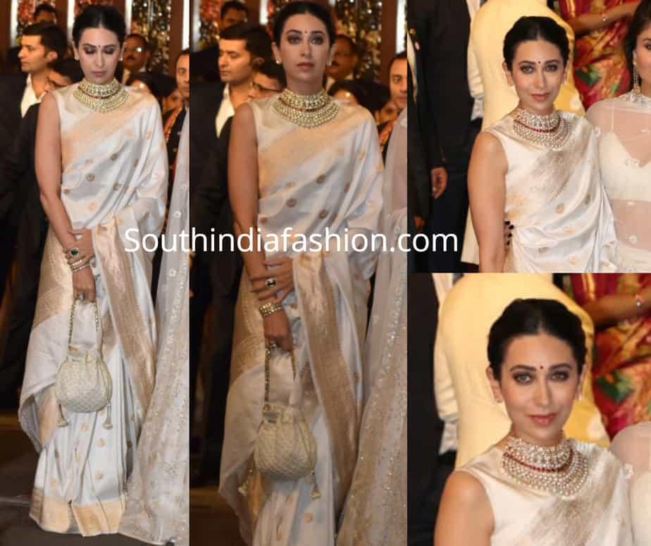 karisma kapoor in white saree at isha ambani wedding