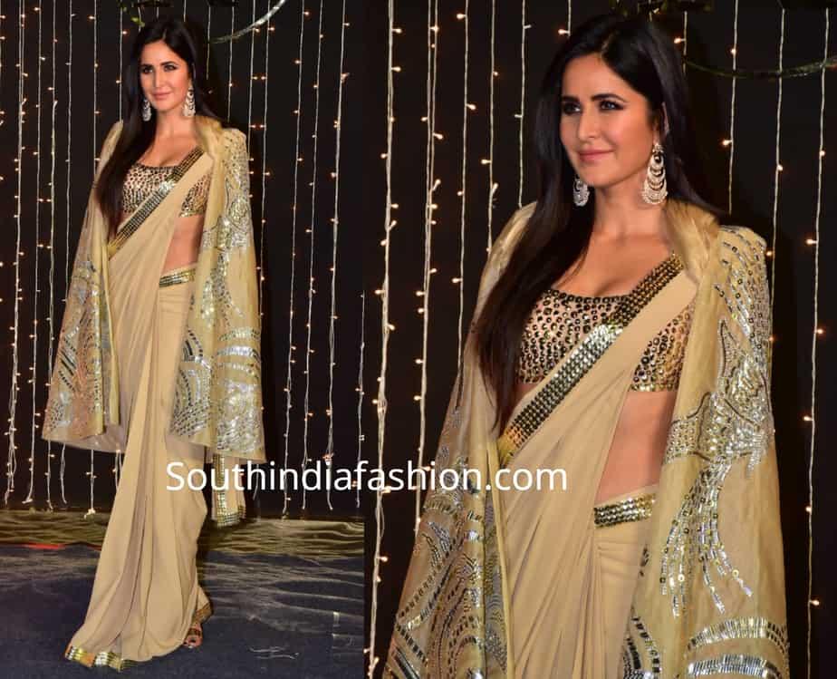 Katrina Kaif in cape saree at Priyanka Chopra – Nick Jonas wedding reception