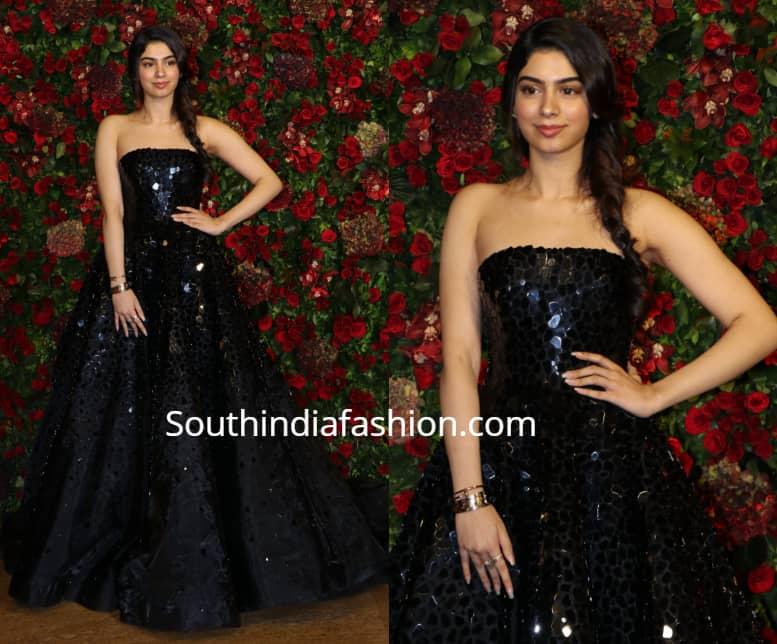 Khushi Kapoor At Deepika Ranveer Wedding Reception South India Fashion
